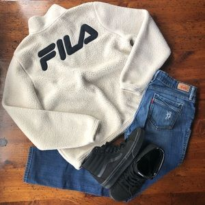 Vintage FilaQuarter Zip Fleece Long Sleeve Med